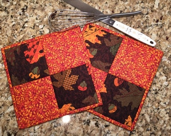 Quilted Potholders, hot pads, trivet,  Quiltsy handmade