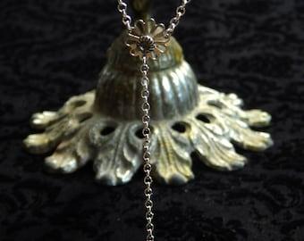 Vintage Swarovski Crystal Flower Sterling Silver Lariat Y Necklace