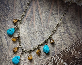 Turquoise & Tiger Eye Drop Necklace