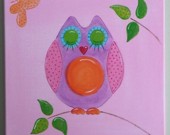 Owl canvas painting. Kids Decor.  30 x 30  Available in two colors. Pink/mauve owl. Lilac/pink owl. Original handpainted canvas NOT A PRINT