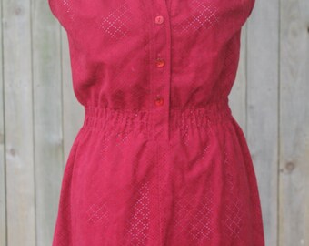 Upcycled 1970s Germaine Red Dress-- End of Summer Sale 40% Off
