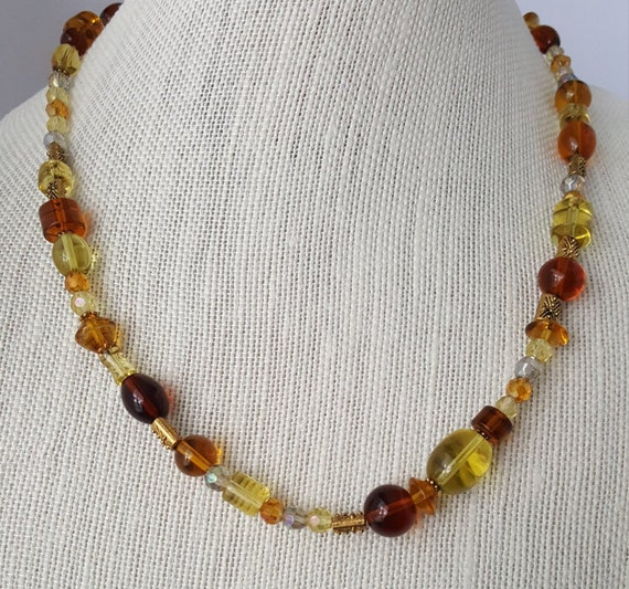 Amber and green beaded necklace
