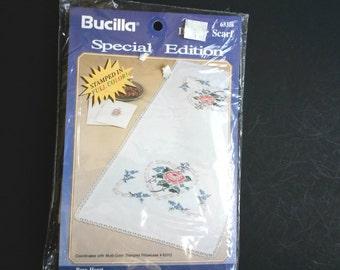 Bucilla Needle Point Cross Stitch Dresser Scarf Kit #63318, Bucilla rose heart kit