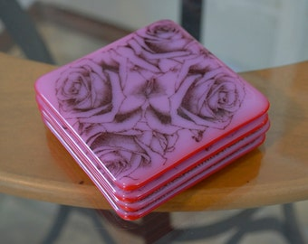 Rose and Lace Glass Coasters