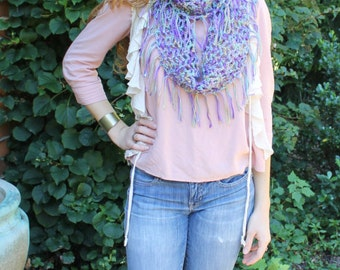 Handmade Crocheted Infinity Scarf with Fringe - Purple & Blue