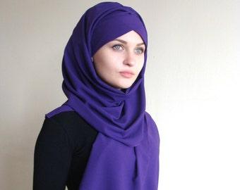 Stylish Turban Hijab, ready to wear hijab, chapel scarf, Scarf Handmade,  Pret A Porter Hijab, violet hijab, Muslim fashion,  purplt Turban