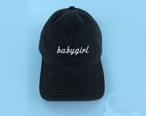 BABYGIRL Baseball Cap Dad Hat Low Profile Casquette Strap Back Black White Embroidered Unisex Adjustable 100% Cotton