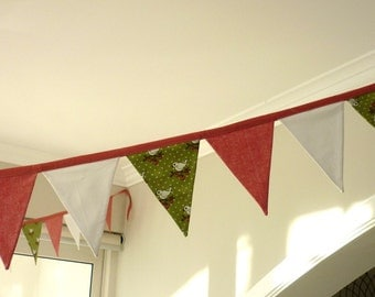 Bunting, Fabric Garland, Banner Party Flags, Pennant Banner, spring themed, Party Decor, 3 color bunting