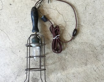 Vintage French Industrial Shop Light Rewired, Ca: 1920s.
