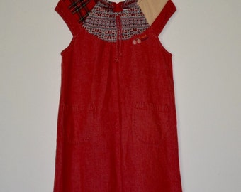 Girl's Vintage Red Dress with Patchwork Collar