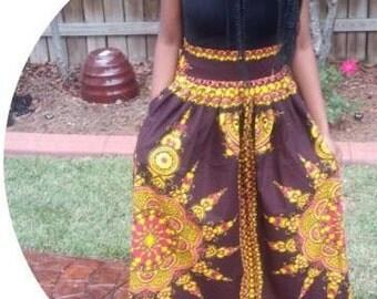 Brown long Ankara skirt