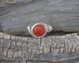 Red Carnelian Gemstone Ring, Size 6, Silver-filled Wire Wrapped Ring
