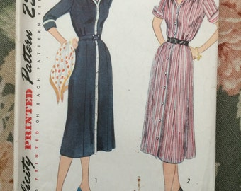 Vintage Sewing Pattern Simplicity 3513 Dress 1940s Sz 16