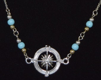 Nautical Blue Silver and Gold  Necklace and Earring Set