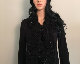 Knitted Scarf and Hat Set - Black with Silver Inflections