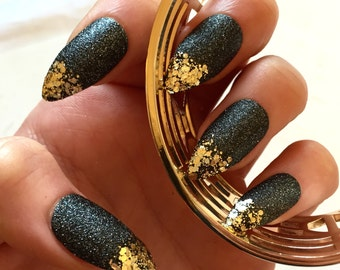 Luxe Gold-Tipped Black Fake Nails - Kitten Claws - Talon/Stiletto Nails - Press-On Nails - Drag Queen - Glue On Gel Nails - Great for Gifts!