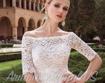 Lace Wedding Dress,  White Dress, Off White Wedding dress, Sweep Train Wedding Dress, Bridal Gown, Elegant Lace Wedding Dress