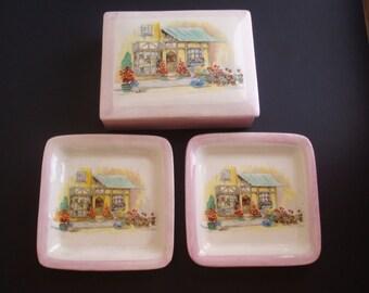 Antique English Ware Lancasters Ltd Hanley England Ceramic Dresser Set