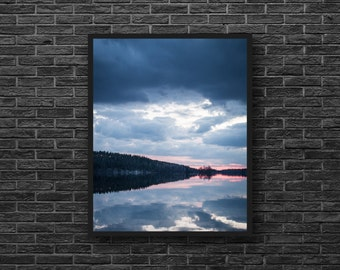 Sunset Photo - Water Reflection Photo - Blue and Pink - Forest Lake Photography - Lake Print - Vertical - Lake Wall Decor - Blue Wall Decor
