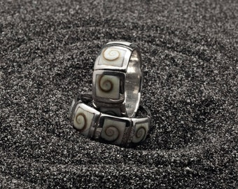Operculum Shell Shivas Eye Ring, Wide Band Sterling Silver Natural Seashell Ring, Men/women White Statement Ring, Natural Seashell Jewelry