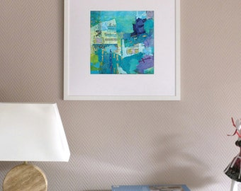 Small print, abstract art, turquoise blue, collage, contemporary painting, ink jet, giclee print, modern art, sea, words, graphic, acrylic