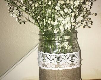 Burlap & Lace wrapped Jar