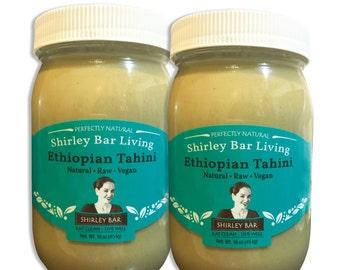 Shirley Bar Living Ethiopian Tahini, Kosher, Vegan, Raw - sesame paste, amazing sauce! 100% Ethiopian Sesame seeds - 2 pack, 1lb each jar
