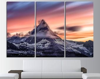 Matterhorn Mountain Wall Art Mountains Canvas Art Mountains print Mountains photo Mountains poster snowy mountains Swiss Alps Wall Art