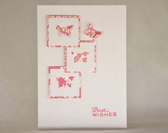 Red butterflies BEST WISHES card
