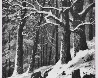 Man carrying wood in snowy landscape, 1879, 1st edition, antique, wood print