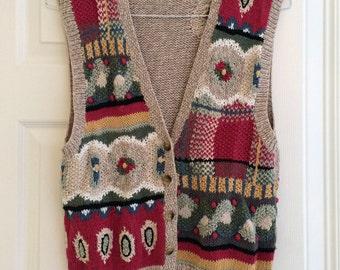 Vintage patterned knit vest
