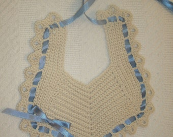 Baby Bib in Ecru with Blue