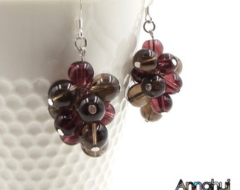 Smoky Quartz Grapes Earrings, Dangle Earrings, Drop earrings, Brown Earrings, Gemstone Earrings, Beaded Earrings Fruit Earrings, Women Gifts