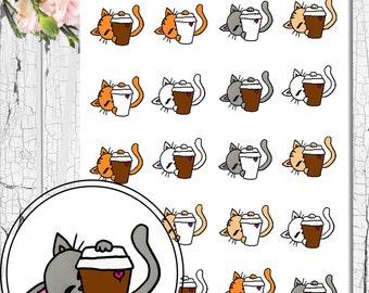 Hand drawn coffee lovin' kitty stickers!