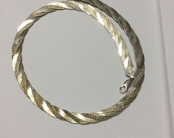 Italian silver twisted two tone necklace