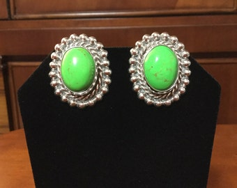 Stunning silver semi precious Gaspeite earrings made in Mexico