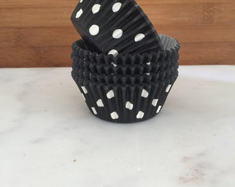 Black Polka Dot Cupcake Liners, Standard Sized, Stay Bright Baking Cups (50)