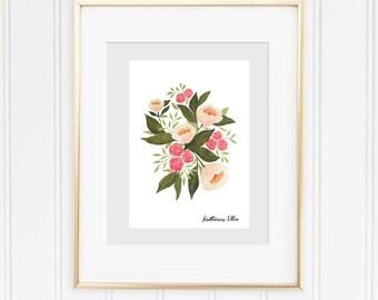 5x7 Pale Pink Floral Print