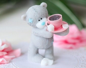Cute Soap Teddy Bear With A Cap Of Coffee - Gift For Mom - Baby Shower Favors - Funny Gift - Flower Girl Present Sister Birthday Coconut Oil