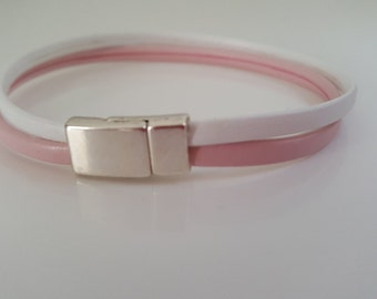 """WHITE and PINK"" women leather bracelet"