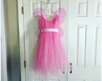 Child Pink Tulle Dress with Wings- Fairy Costume - Fairy Wings
