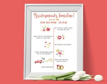 Wedding day timeline etsy for Bridesmaid newsletter template