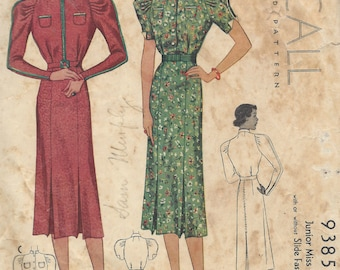 1937 Vintage Sewing Pattern B34 DRESS (1480)