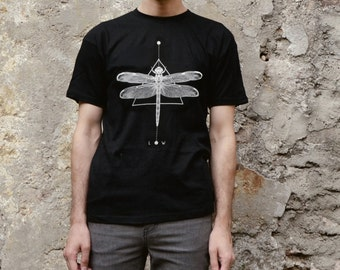 Dragonfly geometric T-shirt Screenprinted Men T-shirt Unisex T-shirt