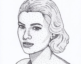 Print of Grace Kelly made by pointillism