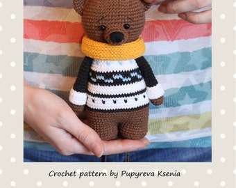 Teddy Bear PATTERN - crochet animal pattern - amigurumi pattern - crochet teddy bear pattern
