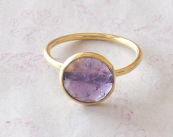 Summer Sale Amethyst 24k Gold Plated Adjustable Ring , 10 mm Round / Handmade Ring / Fashion Ring / Wedding Ring / Jewelry Ring  (PJ6102PJ)