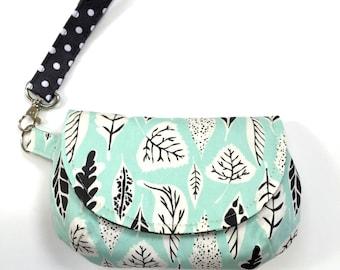 Aqua leaves wristlet clutch purse aqua clutch purse leaf theme purse with 2 interior pockets and zipper pocket wristlet purse small bag