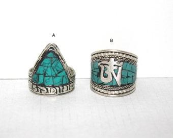 OM Ring, Turquoise ring, Silver ring, Boho Ring, Tribal Ring, Gypsy Ring, Adjustable ring, Aum ring, yoga ring, meditation ring