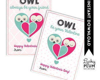 Owl Be Your Friend Valentine Printable / Owl Valentine Printable Tag / Valentine Printable Tag / Owl Valentine Printable